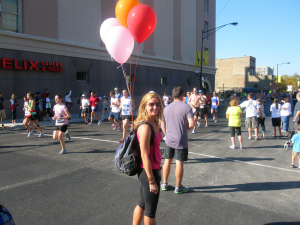 This is me a few years ago as a spectator at Chicago.  Guess how they were able to spot me?