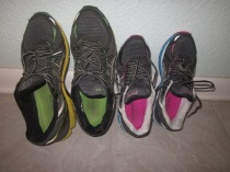 Not our usually loud colored shoes.  These are the winter versions.  I am a big fan of purple shoes!