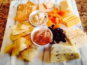 Paired with a cheese platter.  Hey, we were rungry!
