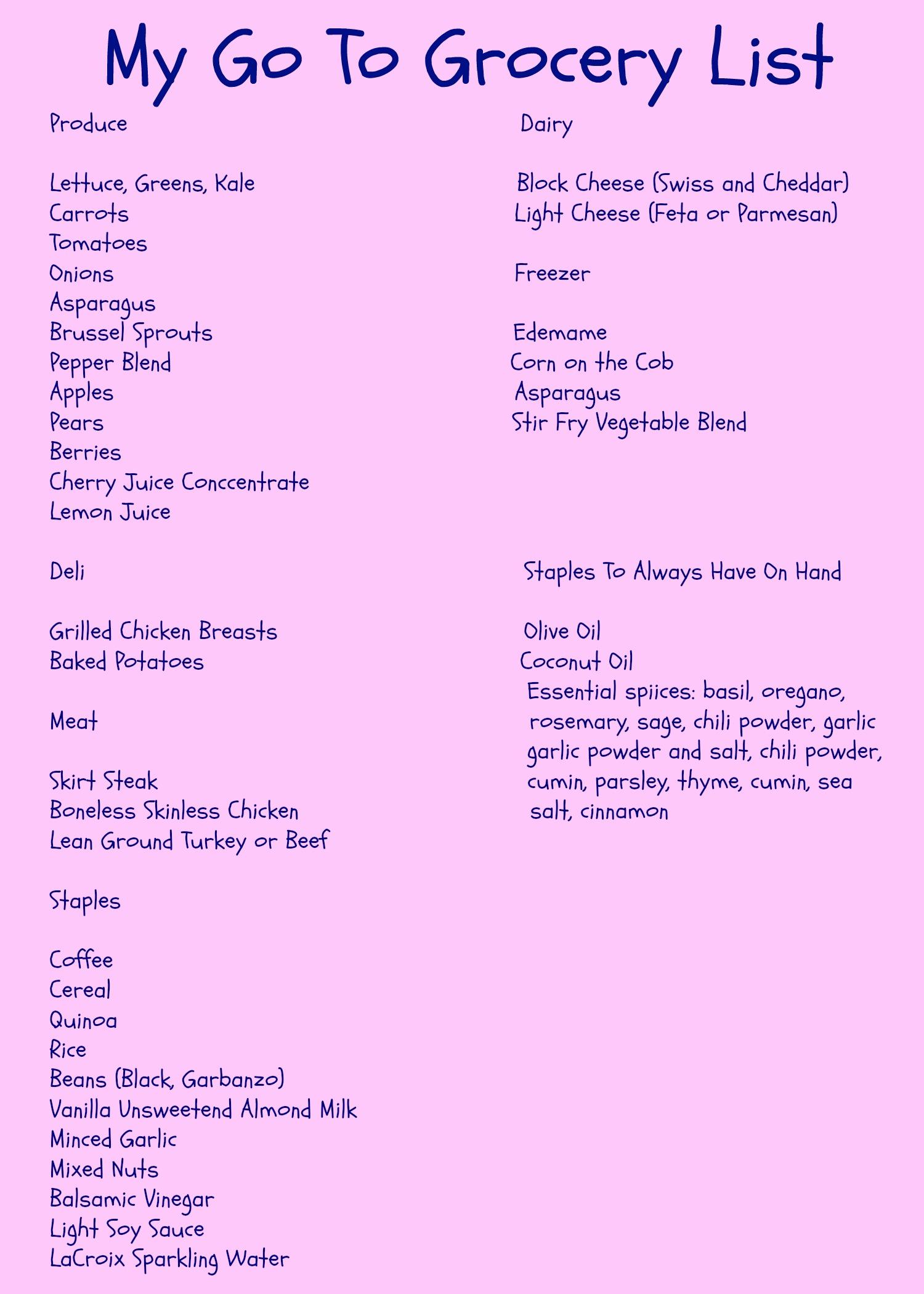 make my grocery list